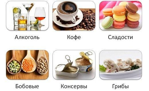 Кофе, алкоголь, сладости, консервы