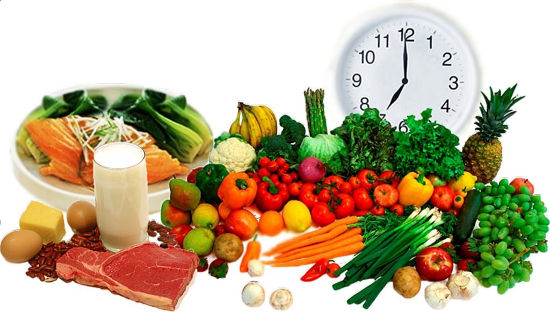 Часы, фрукты и овощи