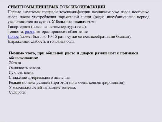 Симптомы пищевой токсикоинфекции